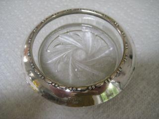Set (4) Vintage Amston Sterling Silver Rim Glass Coasters photo