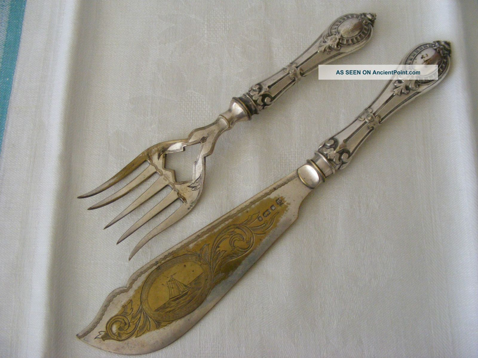 Rare 19thc Silver Fish Carving Serving Set Knife Fork Silber French English Sty Unknown photo