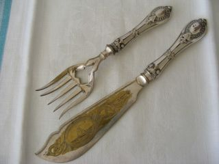 Rare 19thc Silver Fish Carving Serving Set Knife Fork Silber French English Sty photo