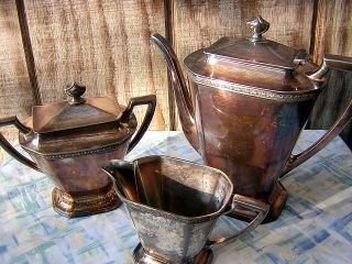 Antique Silverplate Coffee Or Tea Set Trio Colonial Silver Company W/ Hallmarks photo