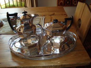 Sheffield Antique Silver Plate Tea Cafe Set With Tray photo
