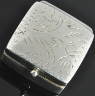 Estate Vintage Sterling Silver Pattern Etched 3d Square Pill Trinket Snuff Box photo