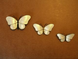 Vintage Norwegian Sterling,  Enamel Set Of 3 Butterfly Pins photo