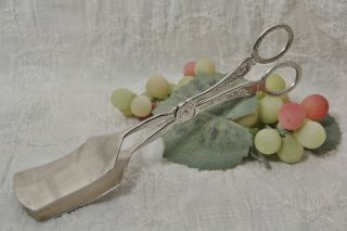 Silver Plate Asparagus Pastry Serving Tongs photo