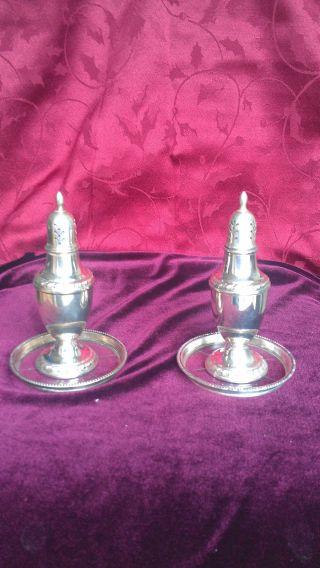 Cornwell Sterling Silver Salt & Pepper Shakers W Coasters photo