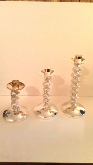International Silver Company Set Of 3 Silverplated Candlestick Holders - New photo