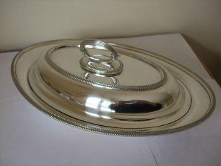 Vintage Silver Plate Oval Entree Dish Epns Detachable Handle Hard Solder photo