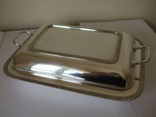 Vintage Silver Plate Square Entree Dish Side Handle Gadrooned Border Heavy Epns photo