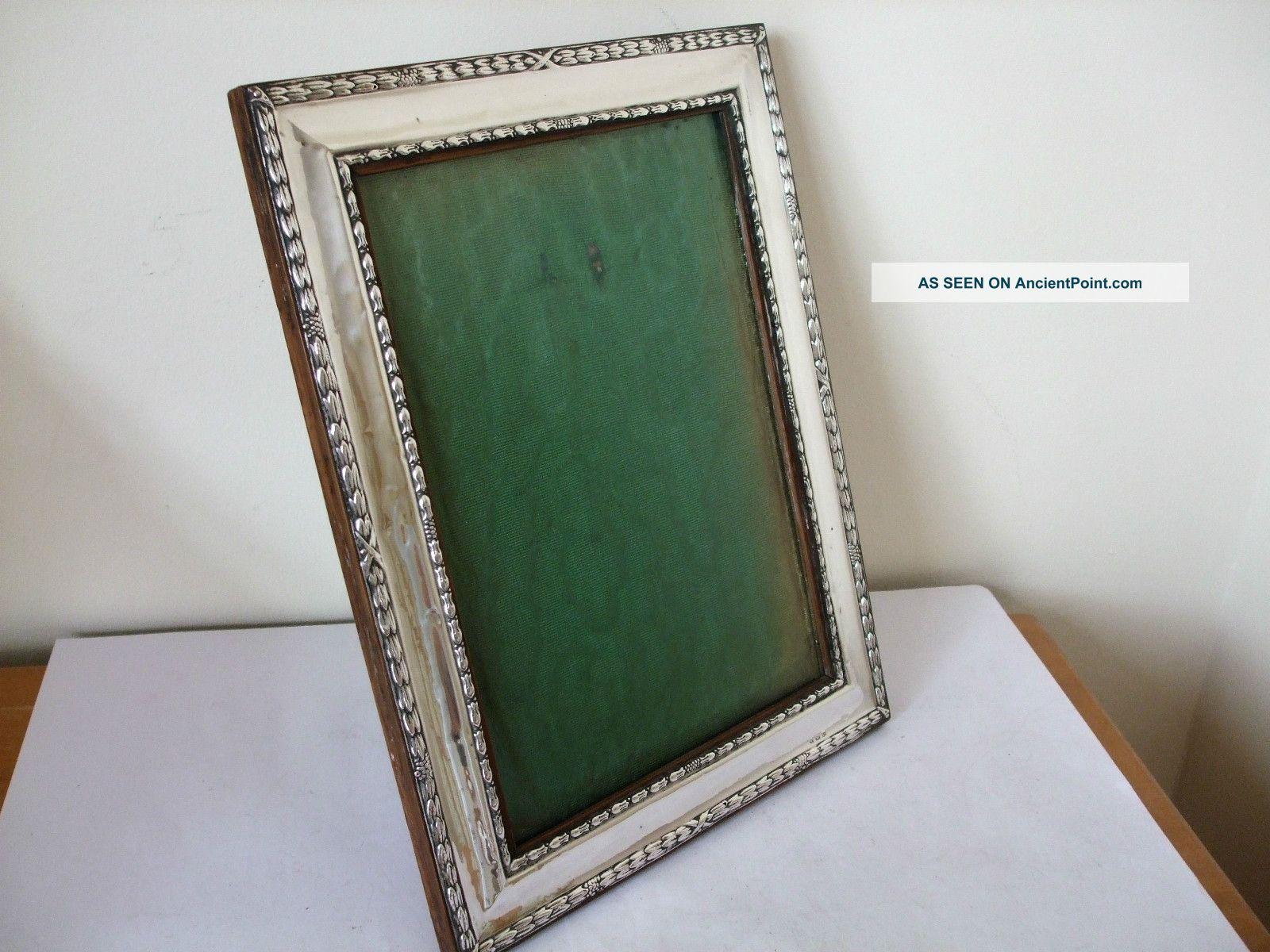Antique Silver Large Photo Frame Birmingham 1910 Repousse Decoration 10 By 8 Inc Frames photo