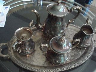 Homan Plate Tea Set On Nickel Silver Made Usa ' Vtg 5pcs ' Silver Plate photo