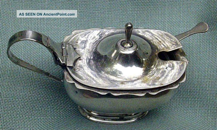 Continental Silver 800 Lidded Master Salt Cellar & Spoon Glass Insert - Georgian? Silver Alloys (.800-.899) photo