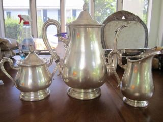 Reed & Barton Jamestown Silverplate 3pc.  Teapot Coffeepot Creamer Sugar Bowl photo