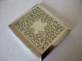 Antique Silver Cigarette Case 1922 Engraved Swirls Art Deco Square Cut Corners photo