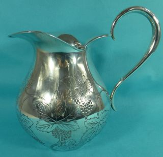 Spanish Sterling Silver Wine Jug Water Pitcher Leaves Grapes Ca 1970 photo