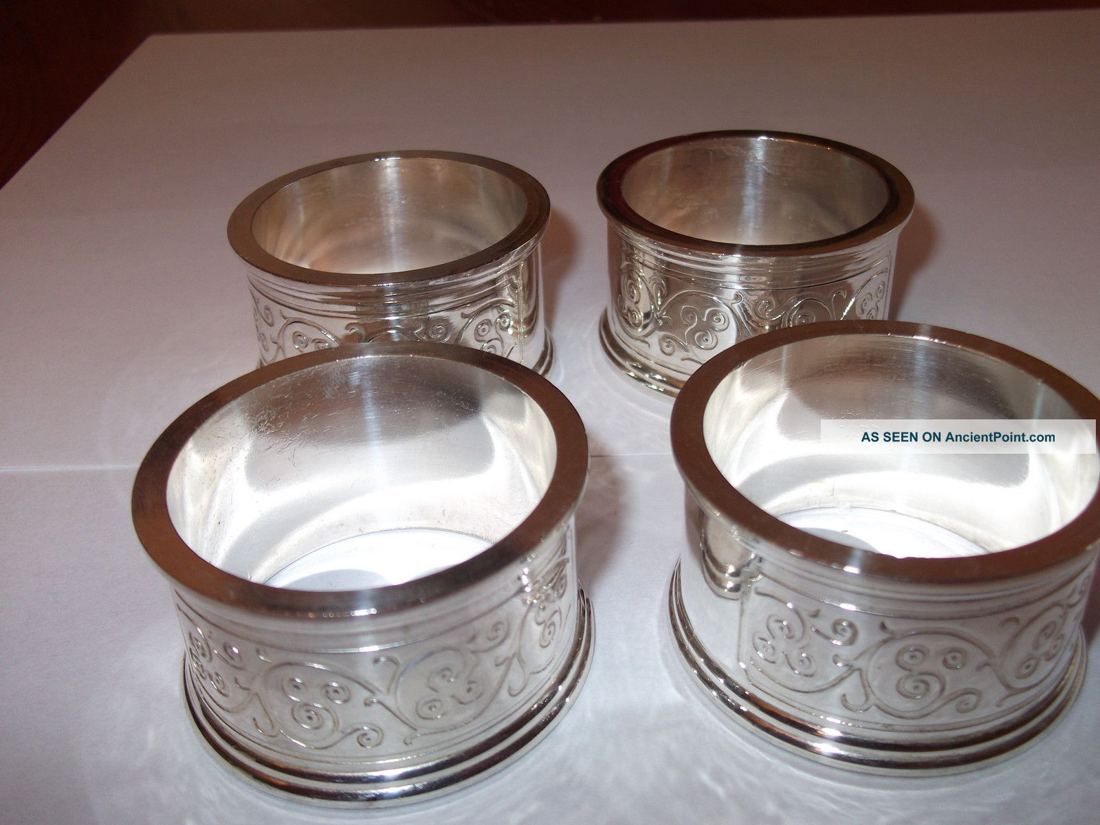 Four Silver Napking Ring Holders Engraved Napkin Rings & Clips photo