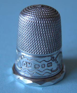 Pretty 1893 Solid Silver Thimble,  Charles May,  Hallmarked Birmingham photo