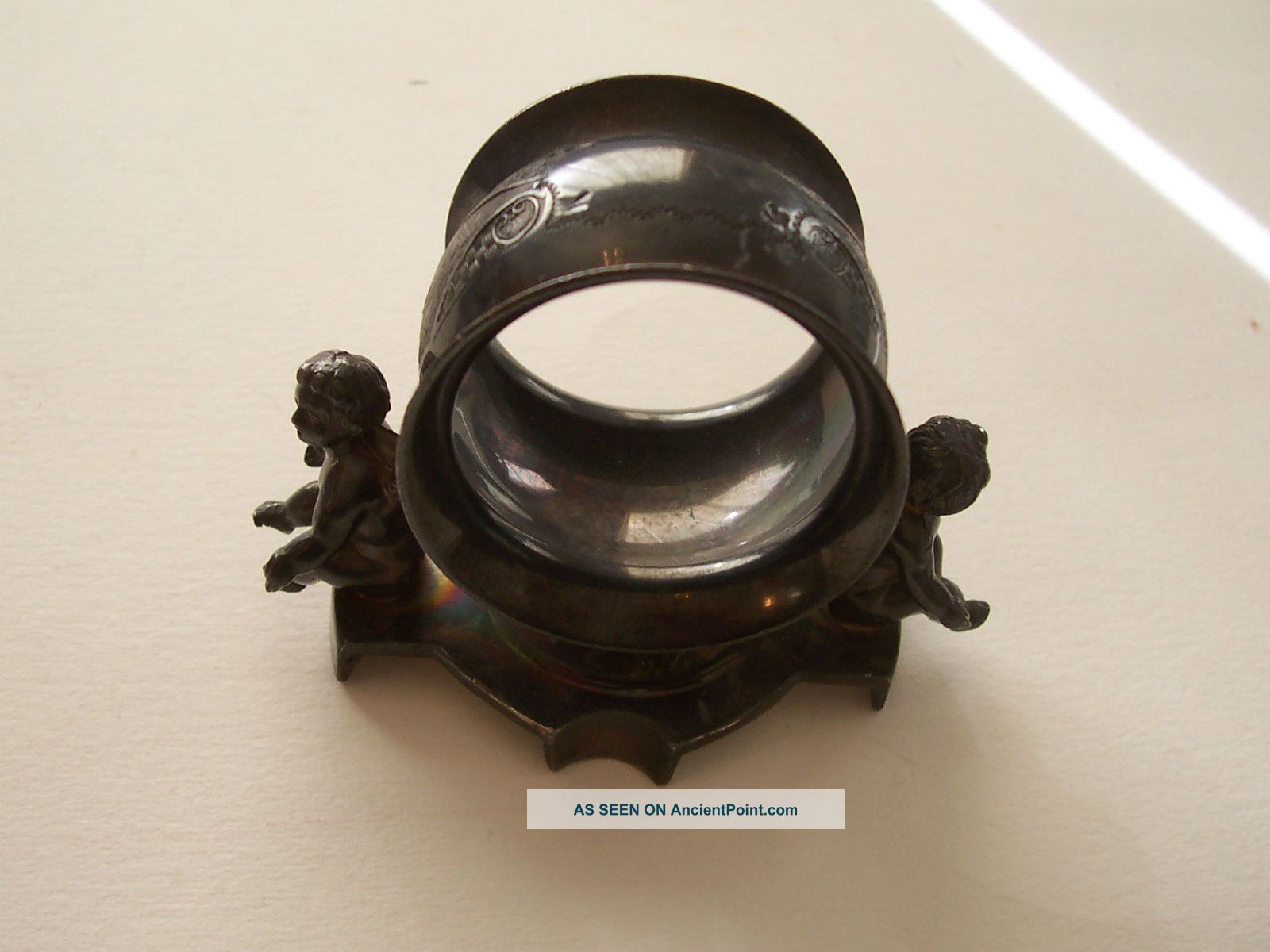 Victorian E.  G.  Webster & Bro.  Sp Unusual Napkin Ring W.  Cherubs Napkin Rings & Clips photo