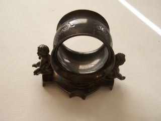 Victorian E.  G.  Webster & Bro.  Sp Unusual Napkin Ring W.  Cherubs photo