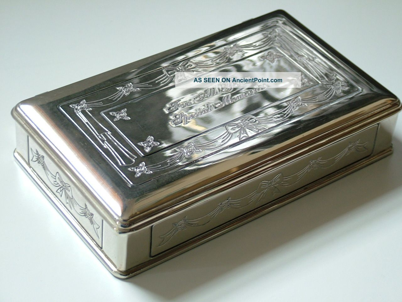 Silver Plate Ornate Bows And Swags Jewellery Trinket Box Special Memories Boxes photo