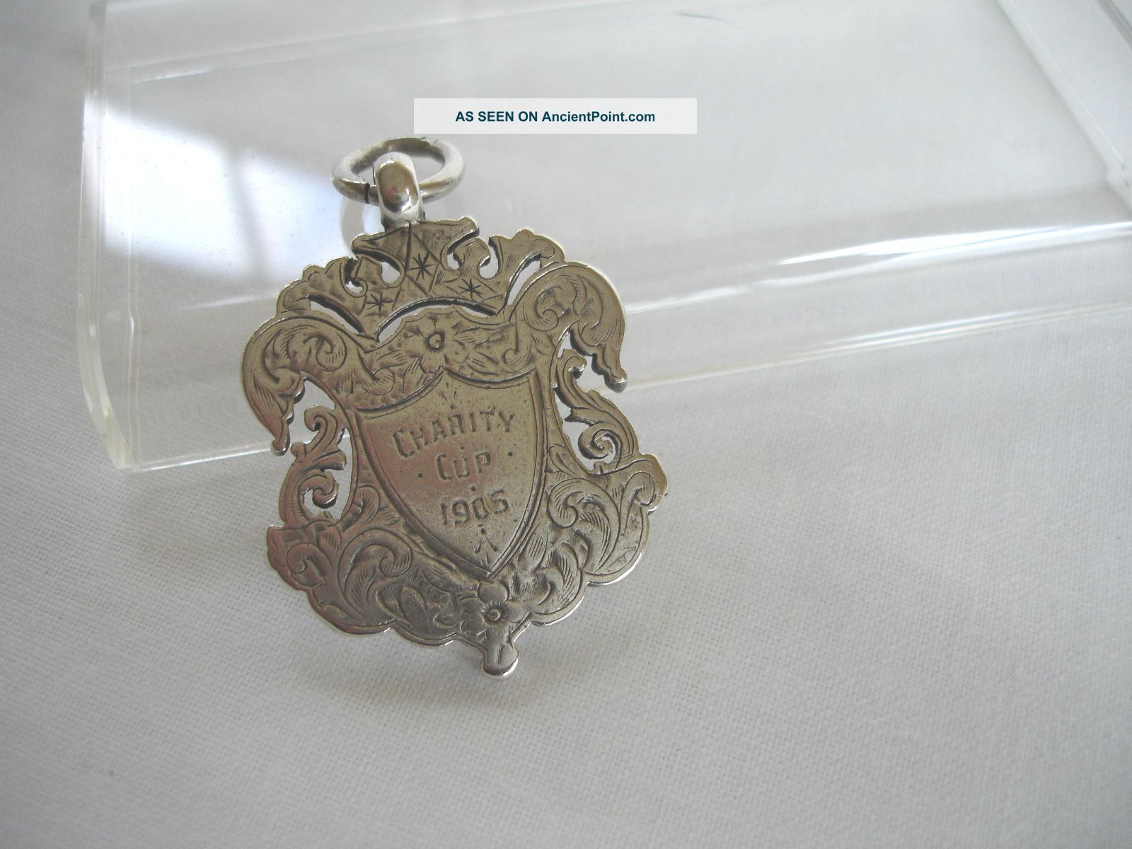 Antique Solid Silver Fob Charity Cup 1905 Nryfa 23gms Pocket Watches/ Chains/ Fobs photo