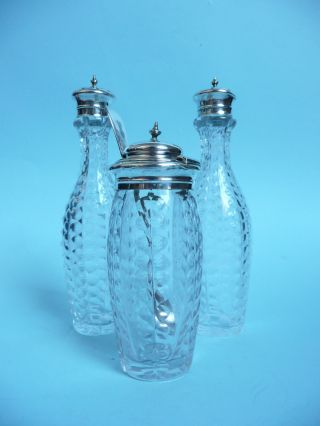 Victorian Solid Silver Topped Cruet Set,  Cut Glass Bottles. . . . . . . . . . . . . .  Ref.  3443 photo