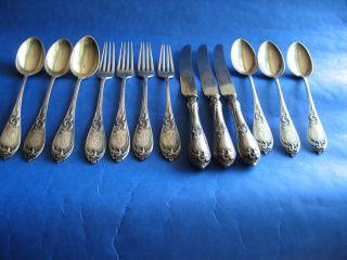 Russian Silver 875 Set Rest Flatware Art Nouveau Vintage Sign 454 Gr.  + 3 Knifes photo