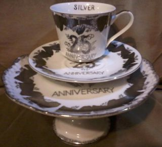 3 Pc Norcrest Fine China Silver Anniversary Vtg Japan Tea Cake Set Replacement photo