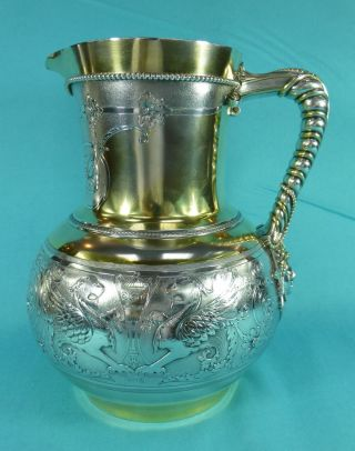 Exceptional Sterling Silver Parcel Gilt Jug Winged Lions Mask F Elkington 1869 photo