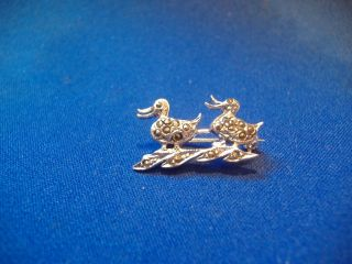 Tiny Two Ducks Silver Brooch Marcasite Set photo
