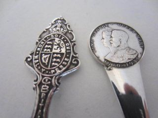 2 Royalty Silver Plated Commemorative Souvenir Spoons. . . photo