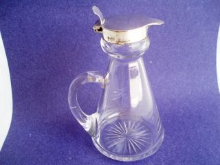 Noggin Jug Mappin Webb Sterling Silver,  Glass Whisky Tot.  4ins Birmingham 1911 photo