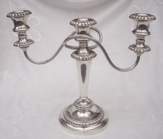 Lovely Silver Plate 3 Branch Candleabra Classic Shape By Barker Ellis Great Look photo