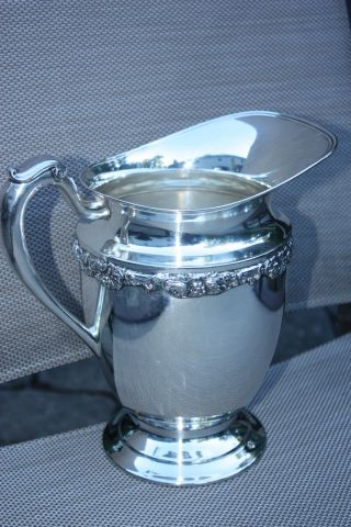 Antique Silver Plate Tall Ornate Grape And Grapevine Design Water Pitcher Epns photo