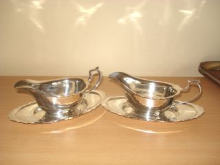 Matching Pair Of Silver Plated Sauce Boats & Stands photo