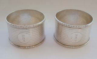 Pair Of Silver Engine Turned Napkin Rings 1940 photo