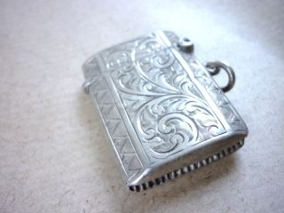 Antique Silver Bright Cut Vesta Case 1913 photo