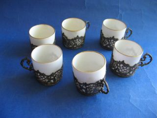 English Sterling Silver Set Of 6 Porcelain Mocca Cups With Silver Holders photo