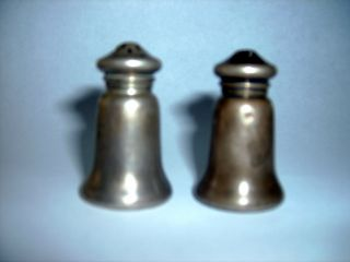 Vintage Pair Of Miniature Sterling Silver Salt And Pepper Shakers photo