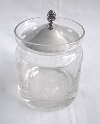 Sterling Silver Lid & Cut Glass Jar - photo