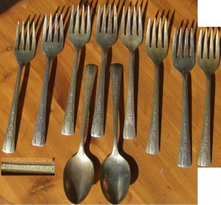 Fashion Silverplate 8 Desert Forks And 2 Teaspoons 10 Pieces See Picture photo