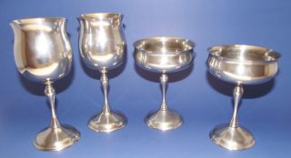 4 Kirk Silver Plate Wine And Champagne / Champaign Goblets Silverplate Spain photo