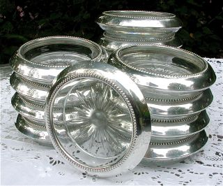 Vtg Set 14 Matching Sterling Silver Glass Drink Barware Bar Coasters Bead Edges photo