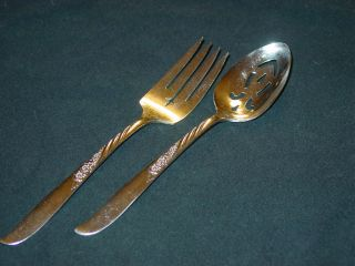 Always Aka Wildwood Pattern Meat Fork,  Slotted Serving Spoon,  And Butter Knife photo