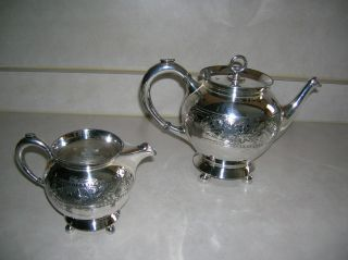 Vintage Rogers & Bros Silverplated Teapot & Creamer Ca 1880 - 1900 photo