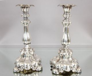 Sterling Silver Swedish Baroque Candlesticks - photo