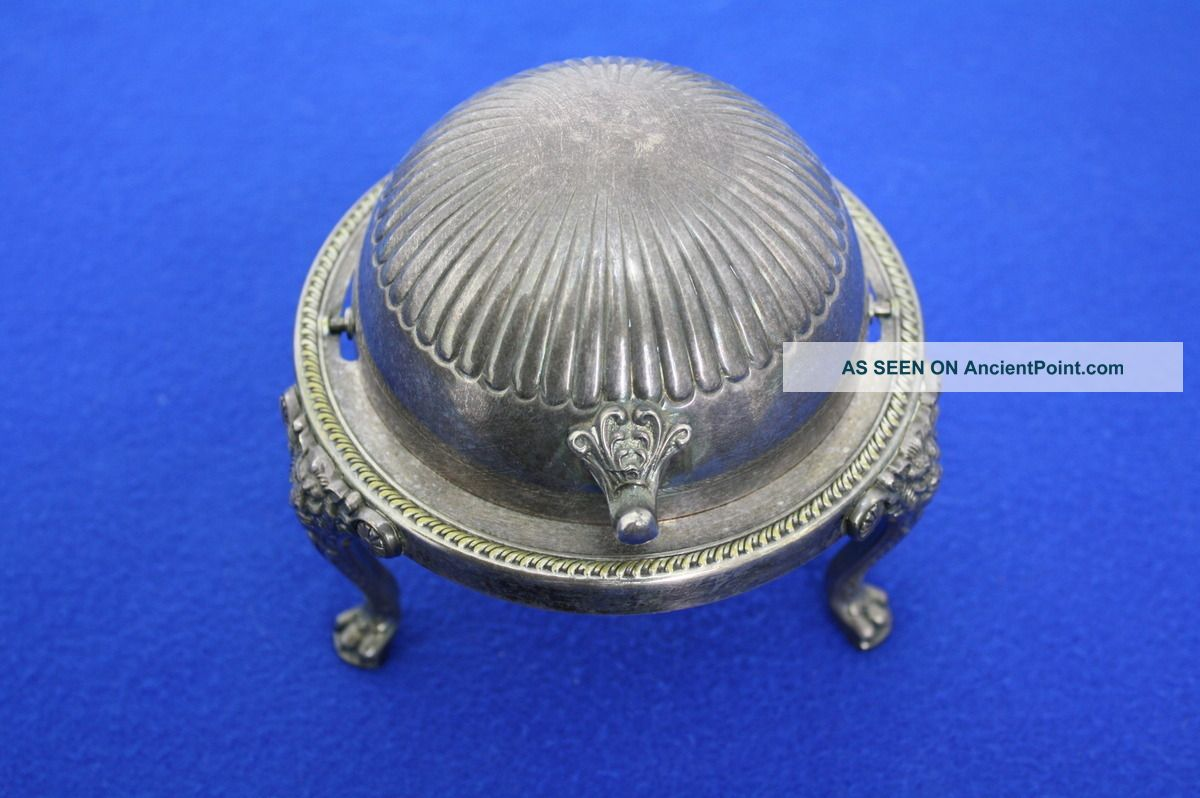 Vintage Fb Rogers Silver Co Silverplate Butter Dish Sliding Dome Lid Patina J188 Butter Dishes photo
