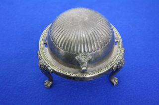 Vintage Fb Rogers Silver Co Silverplate Butter Dish Sliding Dome Lid Patina J188 photo