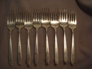 Vintage Community Oneida Grosvenor Silverplate 8 Salad Forks photo