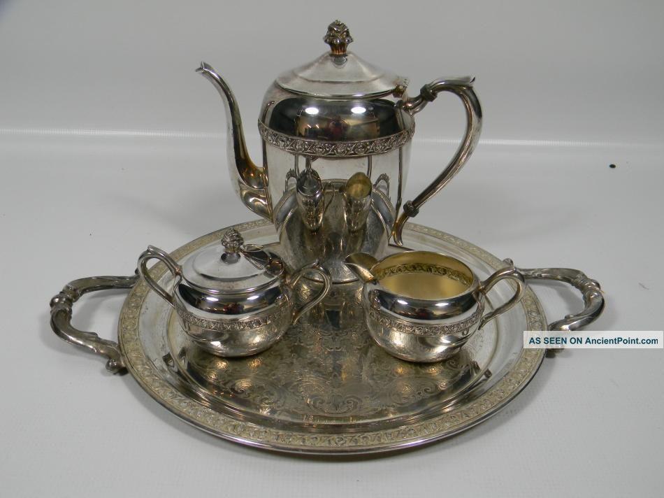 Vintage 1883 F. B. Rogers Silver On Copper Tea Set Creamer Sugar ...