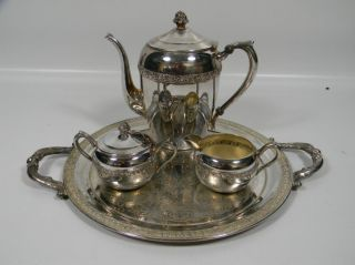 Vintage 1883 F.  B.  Rogers Silver On Copper Tea Set Creamer Sugar Bowl 2307 photo